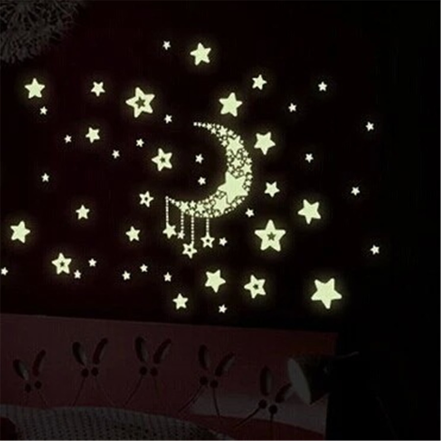 New DIY Home Decoration Luminous Wall Sticker Light At Night Moon Star Wall Stickers for Living Room Wall Decor
