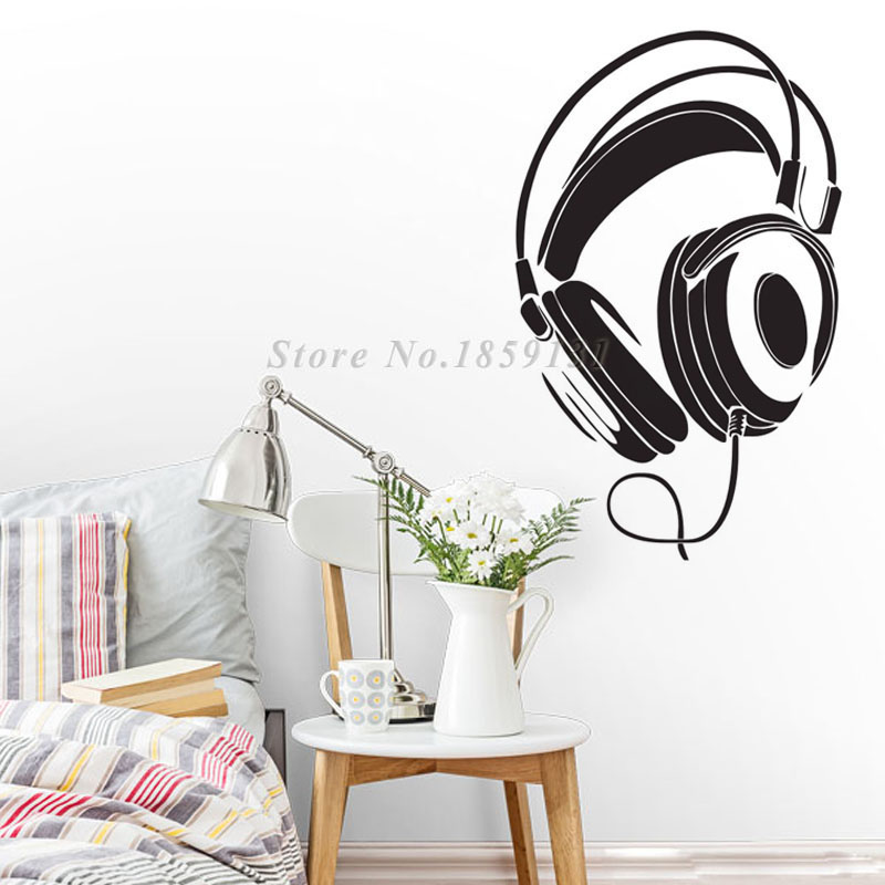 Buy music dj headphones wall stickers for House music vinyl