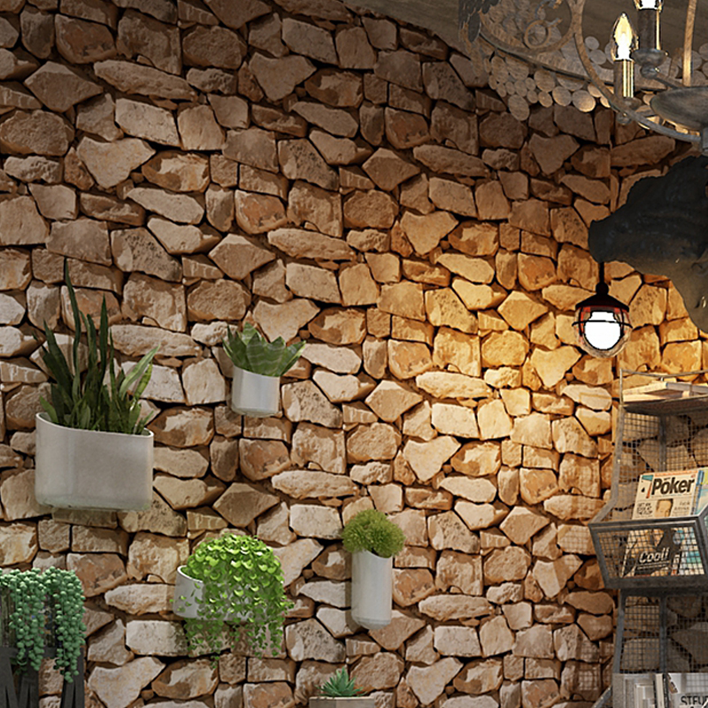 Living Room Covering Natural Retro Rock Stone 3D Wallpaper Rustic Vinyl Brown Slate Effect Brick Stone Wall Paper Home Decor drawer