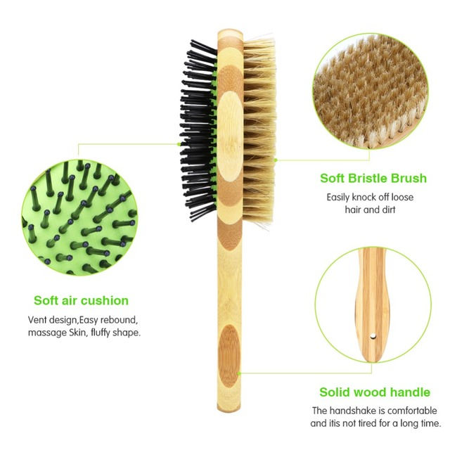Professional Double Sided Pin & Bristle Bamboo Brushes  3