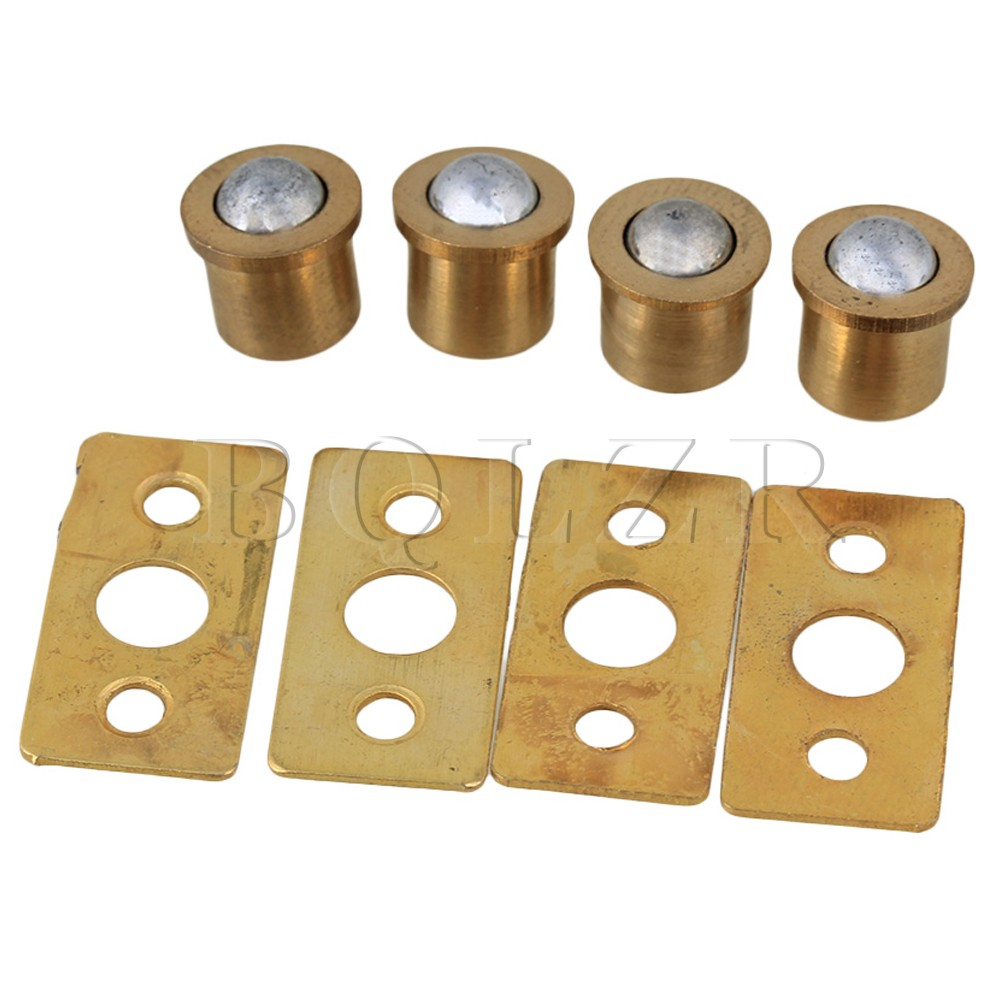 BQLZR 4 xGold Brass Ball Catch with Strike Plate for Cabinet Closet Sping Door(China