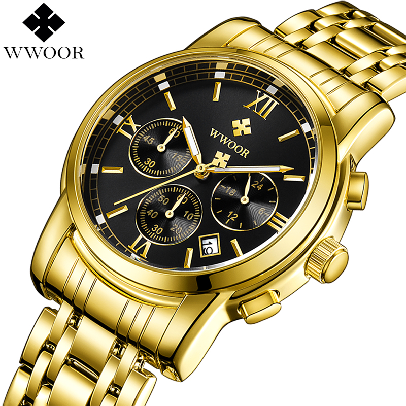 2018 WWOOR Gold Watch Men Waterproof Business Quartz Clock Mens Watches Top Brand Luxury Stainless Steel Male Sport Wrist Watch wwoor men watches waterproof ultra thin quartz clock male gold mesh stainless steel watch men top brand luxury sport wrist watch