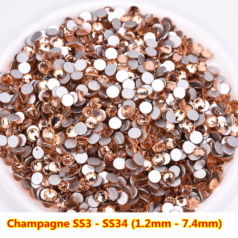 All Sizes Champagne ss3 Nail Art Rhinestones Flatback Non HotFix Rhinestone For DIY Nail Art Decorations Garment Accessories in Rhinestones Decorations from Beauty Health