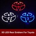 5D Светодиодные Задние Эмблемы Логотипа Свет Значка Автомобиля Лампа для Toyota RAV4 Прадо Reiz Corolla Crown Vios Желание Горец Land cruiser Ez