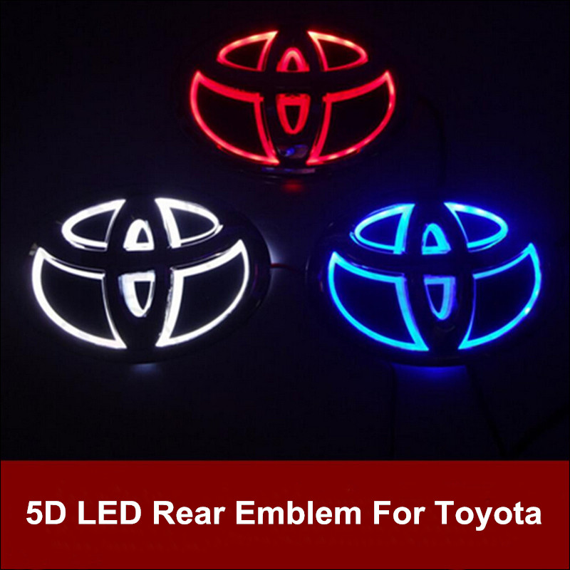 5D Led Rear Emblem Logo Light Car Badge Bulb for Toyota RAV4 Prado Reiz Corolla Crown Vios Wish Highlander Land cruiser Ez 1pcs 4d led rear emblem car logo light for ford focus mondeo car led badge bulb car styling