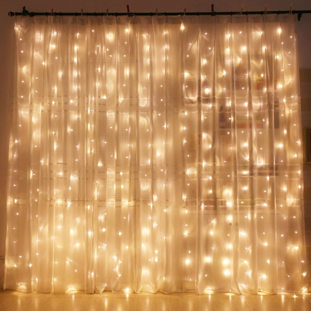 Led Decor Lights: Curtain LED String Lights Modern Home 300leds 300CM Length