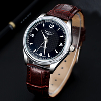 2016 Fashion Casual Mens Watches Top Brand Luxury High Quality Leather Waterproof Quartz Wrist Watches For