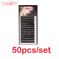 NEWCOME 50Trays/set,3D Korean Eyelash Extension Natural Black Fake False Eyelashes Curl C/D Eye Lashes for Professional Makeup