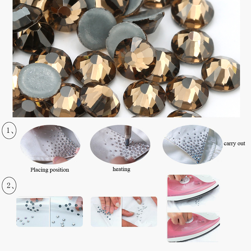 Smoke yellow Hot fix Rhinestones SS16 SS30 Crystal glass Iron On Rhinestone  for Clothes decoration Diy accessories-in Rhinestones from Home   Garden on  ... 5bba26f2536c