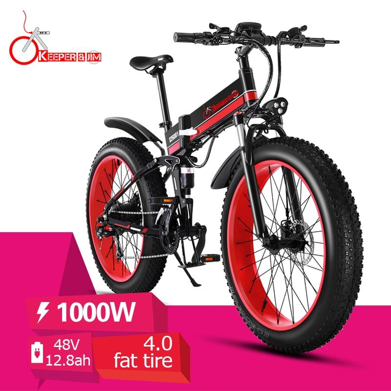 Electric Bike 26 Inch 48V 1000W Fat Tire Mountain Snow Ebike Folding Electric Bicycle