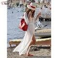 Comeondear Белый прозрачный Пляж Ножной Браслет Длина Sexy Beach Dress Shirt Style Новое Прибытие B246 Высокого Качества Купальный Костюм Dress