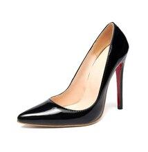 ปั๊มสีแดงด้านล่างแหลมโรมส้นบาง45 44รองเท้าเซ็กซี่ผู้หญิงสิทธิบัตรหนังส้นสูง12เซนติเมตรบางส้นขนาดEUR 34-46 A03