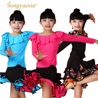 2017 Children stage dancewear Girl A Juvenile Performance latin dance dress Lading Dance Clothing Suit Spring New Pattern