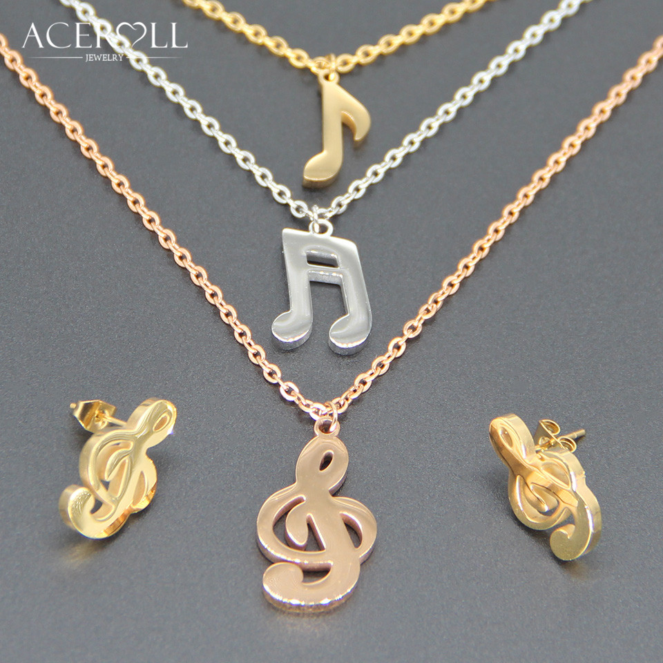 ACEROLL Three Layers Jewelry Set - Stainless Steel Triple Colors Rose Gold Music Note Earring and Pendant Necklace with 3 Chains