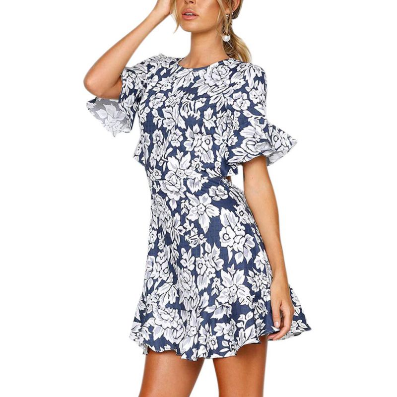 2018 New Ruffle Cuff Floral Print Dress Women Sexy Backless Flounce Sleeve High Waist Short Dress Summer A-line Beach Dress