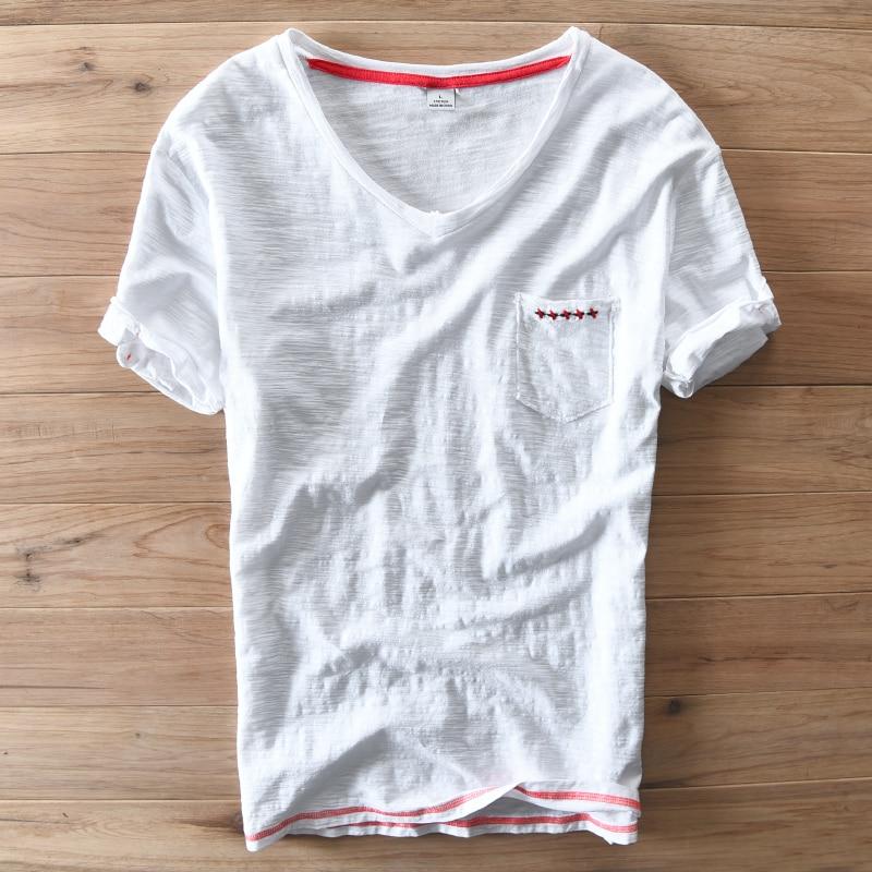 Estilo de España Diseño Único Manga Corta Con Cuello En V Camiseta - Ropa de hombre - foto 6