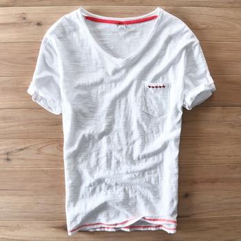 Spain Style Unique Design Short-Sleeved V-Neck Cotton T Shirt Men Brand Clothing Casual Men T-Shirt Summer Fashion Tshirt Camisa 10