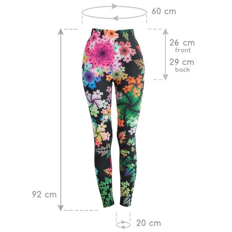 Leggings de yoga fitness taille unique, motifs fleuris, feuillage sur fond noir, dimensions