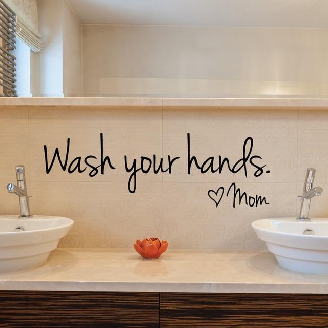 new bathroom wall stickers wash your hands love mom waterproof art vinyl decal bathroom wall decor - Bathroom Wall Decals