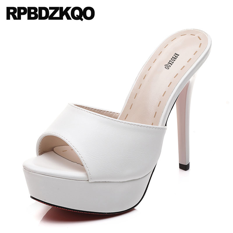 Ladies White Shoes Stiletto High Heels Peep Toe Platform Slides Slip On Women Sandals 2018 Summer Extreme Sexy Pumps Fetish Open taoffen ladies stiletto high heels peep toe shoes shoes women wedding lace sexy casual slip on platform pumps size 31 43 pa00382