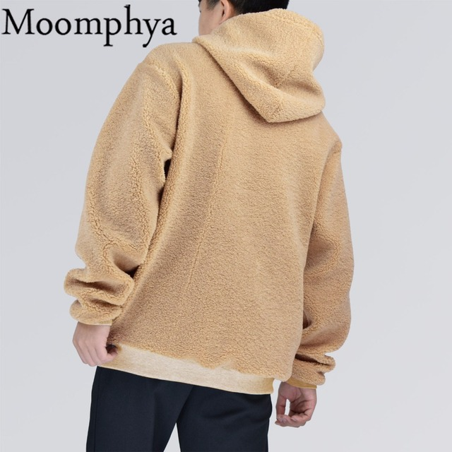 Moomphya Fall warm Men hoodies fleece in cream Men hooded sweatshirt hip hop hoodies fashion streetwear winter thick hoodies men