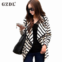 New Fashion Women Ladies Long Sleeve Striped Cotton Peplum Autumn Casual Tops Cardigan Blouse Jacket Size