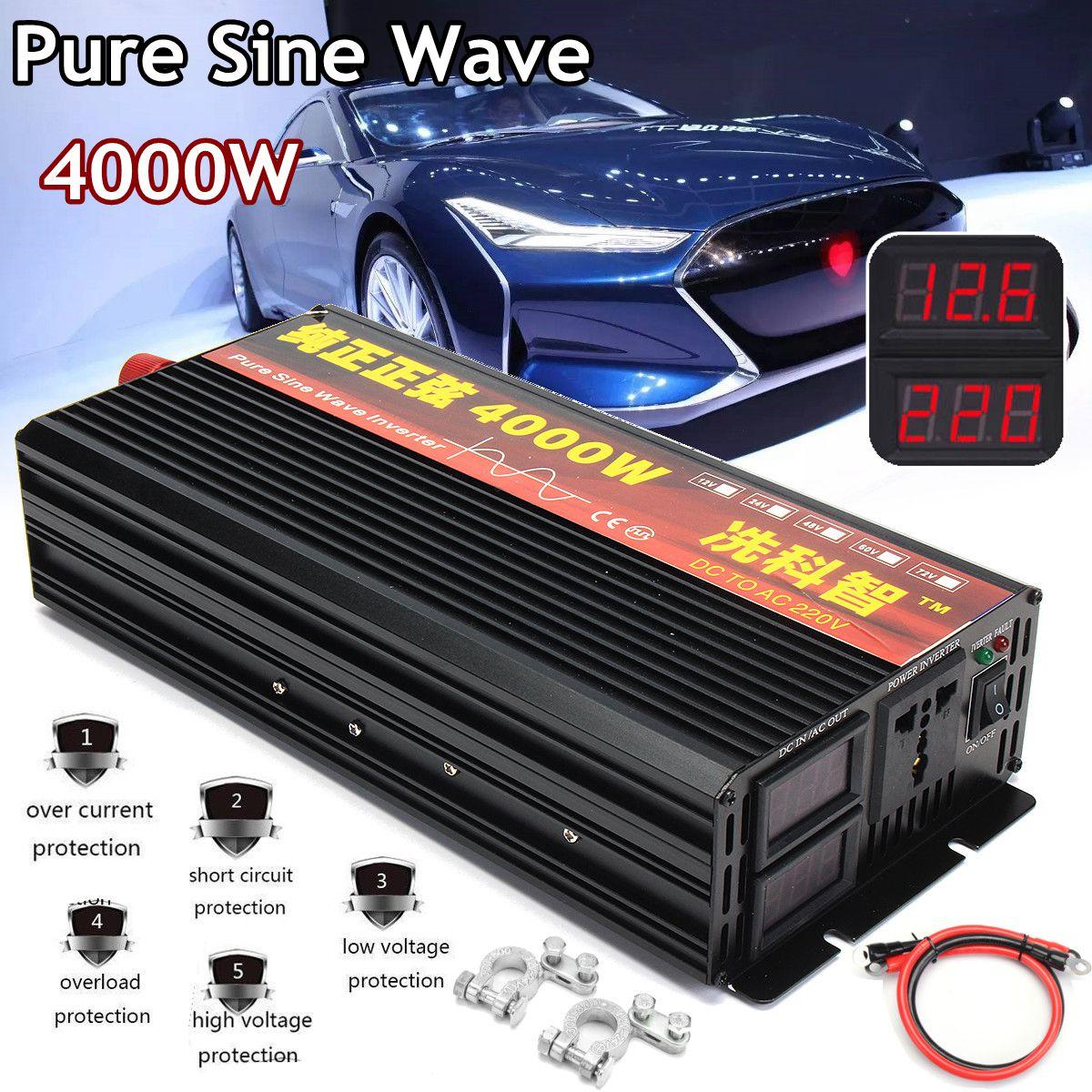 Inversor 12 V/24 V 220 V/2000/3000/4000 W transformador de voltaje inversor de potencia de onda sinusoidal pura DC12V a AC 220 V convertidor + 2 pantalla LED - 2