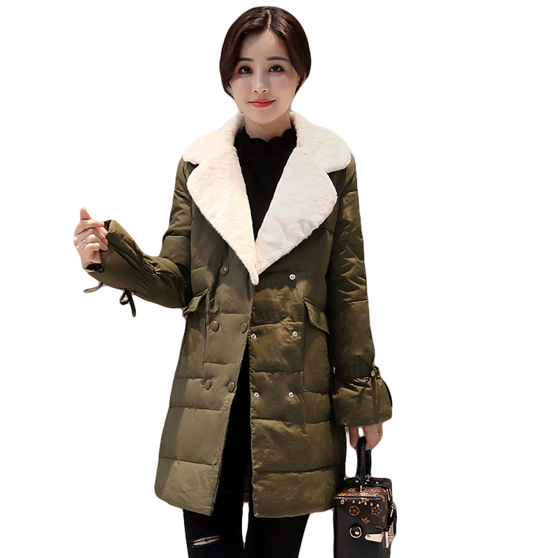 2017 New Winter Lambs Down Cotton Coat Jacket Female Turn-down Collar Double Breasted Super Warm Thick Coat Parkas CM1498 europe 2015 new women winter coat slim turn down collar long double breasted leather match cotton jacket coat w20