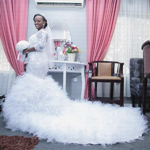 Vestido de novia de encaje de cola grande africano, sirena, de talla grande, novedad, 2020