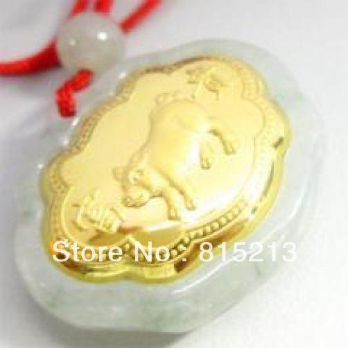 Vente chaude nouveau-HOT594 Naturel Jade Agate 24 k Or Cochon Zodiaque Collier