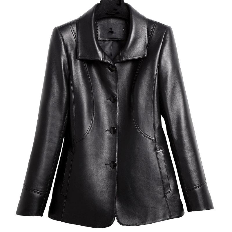 YOLANFAIRY Véritable Leathe Veste Femmes Réel en peau de Mouton En Cuir Manteaux Printemps Automne 2018 Top Qualité Plus Taille 8XL Outwear MF570