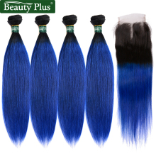 4 Ombre Bundlar Med Closure Beauty Plus Människor Hårväv Mörka Rötter T1B / Blue Ombre Brazilian Straight Hair 5 st / Lot Non Remy