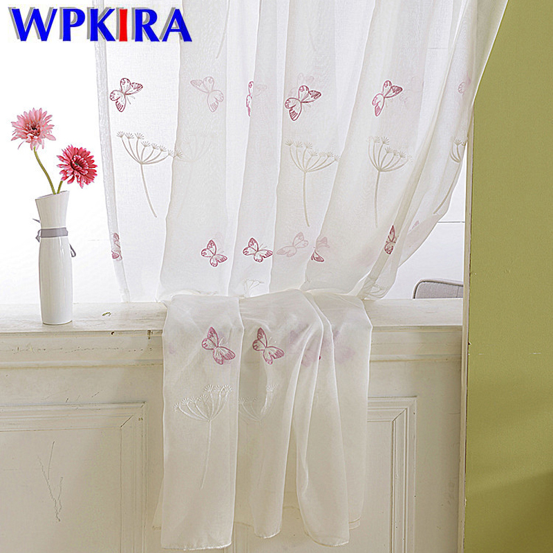 Butterfly Window Curtains Living Room White Embroidery