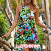 2018 Women Sleeveless Spring Summer Dress Boho Maxi Short Evening Party Beach Sundress Laipelar
