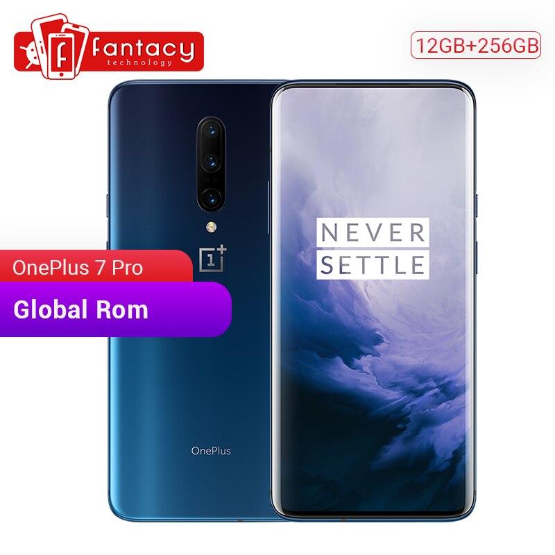 Original global rom oneplus 7 pro 12 gb 256 gb smartphone snapdragon 855 6.67 Polegada 90 hz amoled display digital 48mp câmera nfc