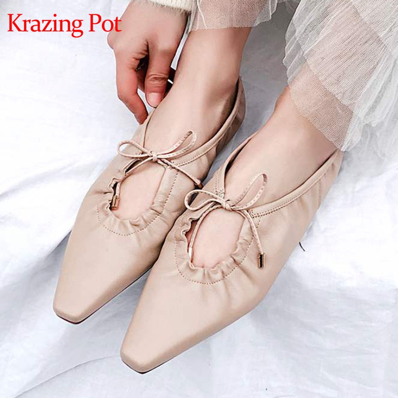 Krazing Pot hot selling sheep skin lazy woman square toe butterfly knot lace up handmade pregnant