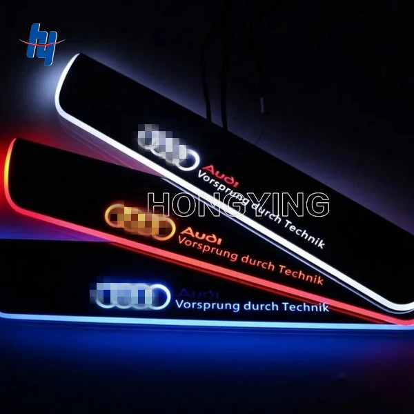2PCS Stainless Steel Car LED Moving Front Door Sill Guards Scuff Plate Welcome Pedal For A udi Q3 Q7 2013 2014 2015 hot sale 2pcs hot sale car led moving door scuff fit for peugeot301 2008 307 308 408 508 4008 front door white blue red high qu