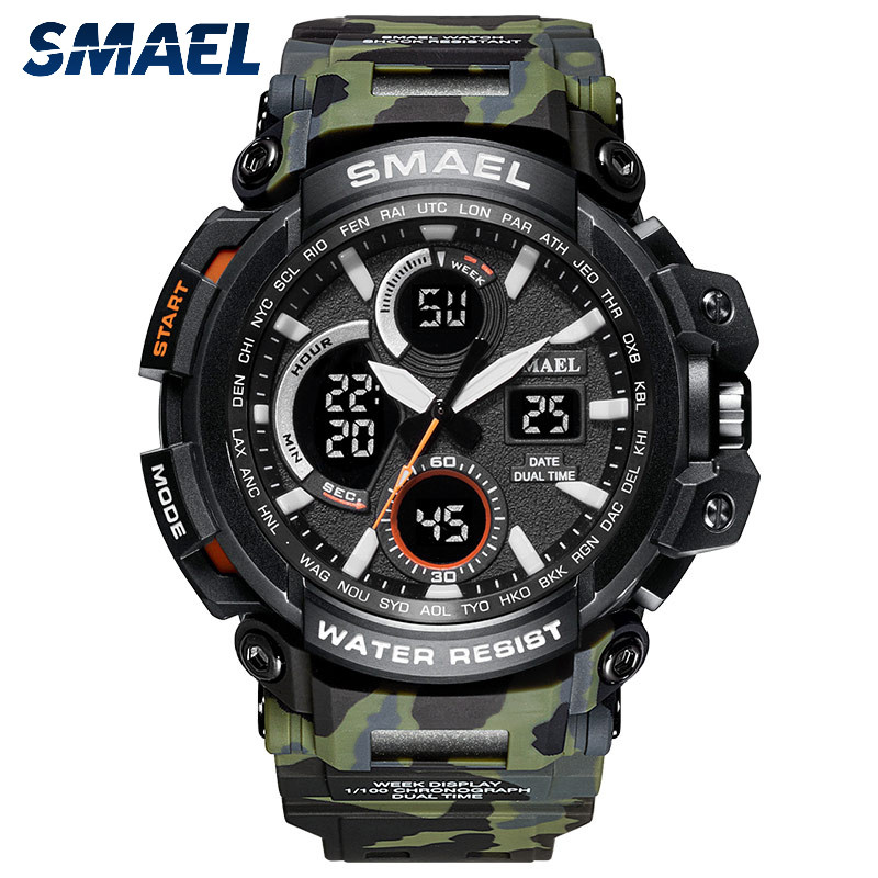 SMAEL Men Sport Watch Dual Display Analog Digital LED Electronic Wrist Watches smael 1708b