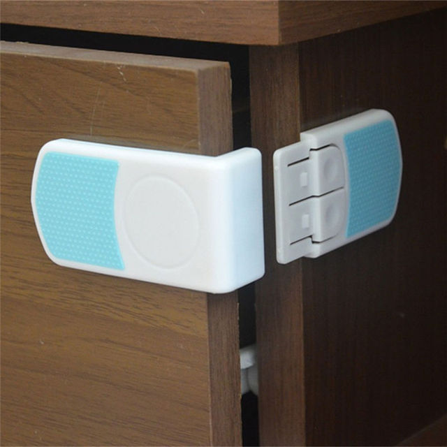 1 Pcs Baby Drawer Cupboard Refrigerator Plastic Locking Protection Children  Kids Straps Safety Right Angle Corner