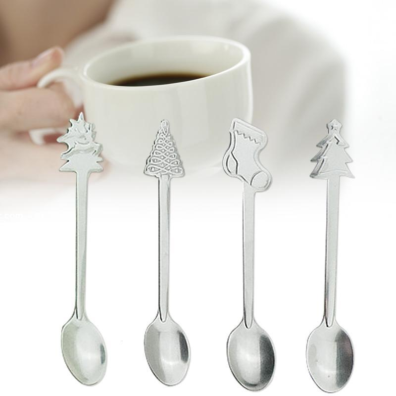 Stainless Steel Coffee Spoon Xmas Dessert Kid Baby Mini Teaspoon Tableware