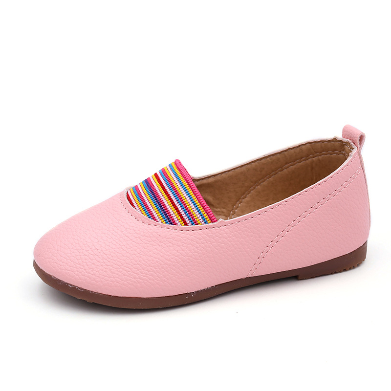 JUFOYU 2018 Girls Moccasins Leather Shoes Rainbow Splicing Shoes Retro National Wind Peas Shoes A Pedal Flat Princess Shoes