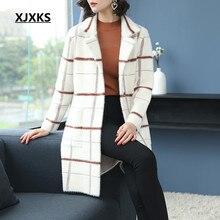 XJXKS manteau femme hiver hohe qualität frauen woolen mantel casual plaid outwear neue mode ulzzang frauen mäntel