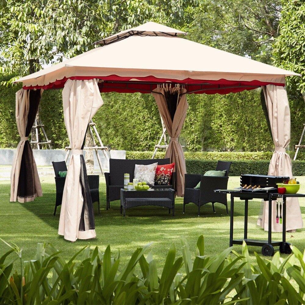Giantex 13'x10'Outdoor Canopy Gazebo Art Steel Frame Party Patio Canopy Gazebo W/Netting Outdoor Furniture OP3618 цена
