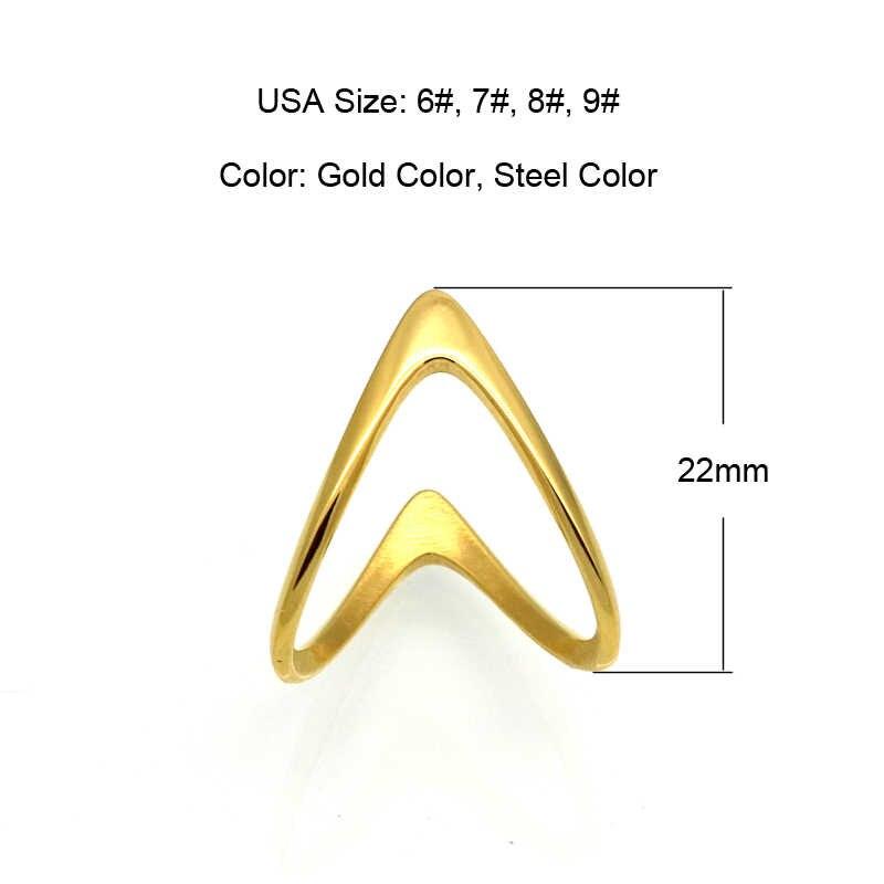 BORASI แฟชั่นเครื่องประดับ V แหวนผู้หญิงทองสแตนเลสสตีลประณีตเงาคู่ V Shape Knuckle แหวน 2017