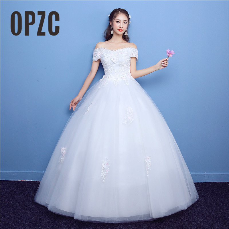 Plus Size Wedding Dresses With Color: New Boat Neck Korean Style Color Lace Embroidery Flower