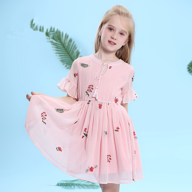 Children's wear girls 2018 summer clothes New children Short-sleeved floral dress Spring and summer vacation Chiffon dress 3-12 the lotus flower dream dew [] new spring and summer clothes in the morning suit sleeve sleeved taiji new special offer