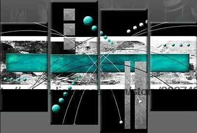 Large Turquoise Black Grey Abstract Canvas Pictures Oil Painting Floral  Canvas Wall Art Wall Hand Classical