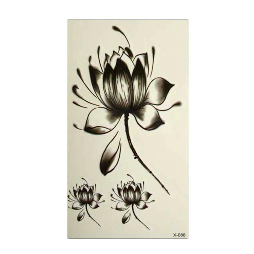donne nero impermeabile tatuaggi adesivi fiore di loto fiore di loto tatuaggio temporaneo. Black Bedroom Furniture Sets. Home Design Ideas