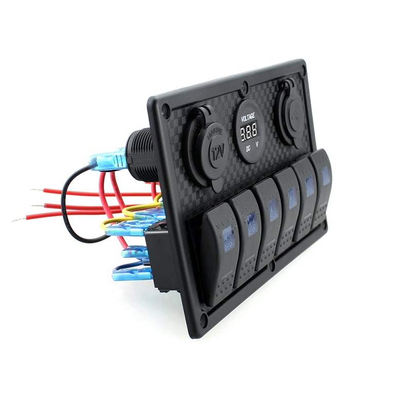 12V 24V DC 6 Gang Waterproof Marine Blue Led Switch Panel with Power ...