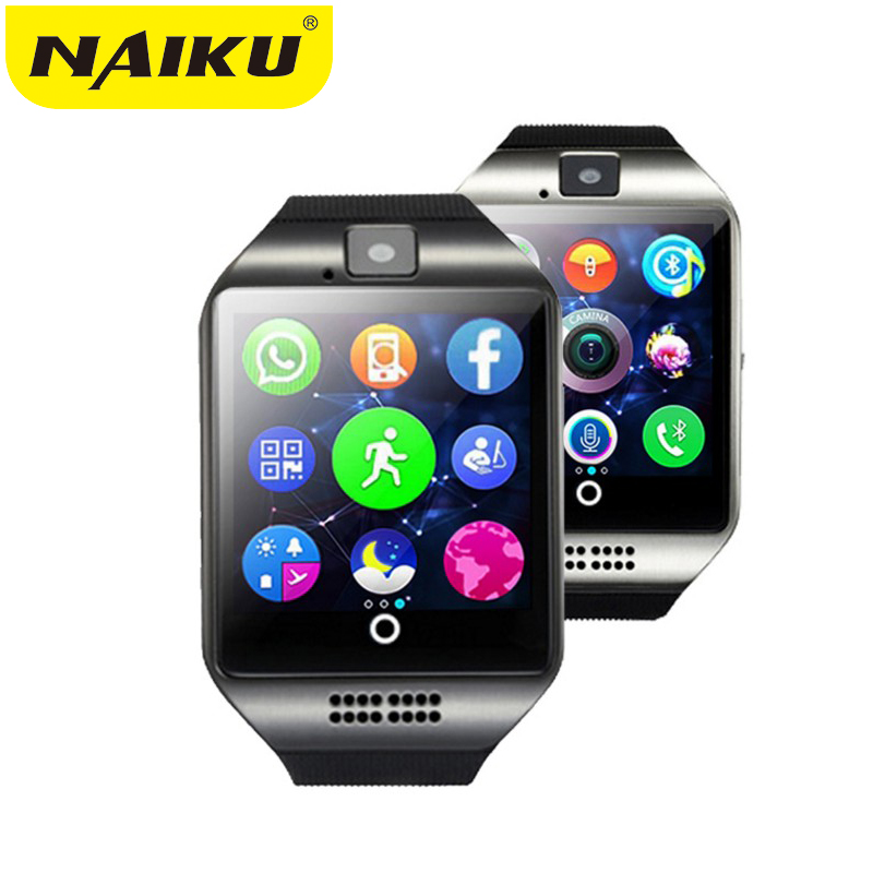 NAIKU inteligente reloj Bluetooth Q18 con cámara Whatsapp Facebook Twitter sincronización SMS Smartwatch soporte tarjeta SIM TF para IOS Android